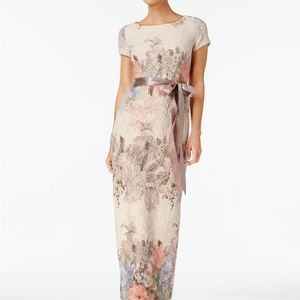 Adrianna Papell Floral-Print Column Gown Blush/Mul